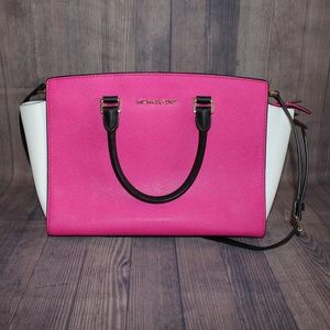 Michael Kors Large Selma Satchel Pink/White/Black